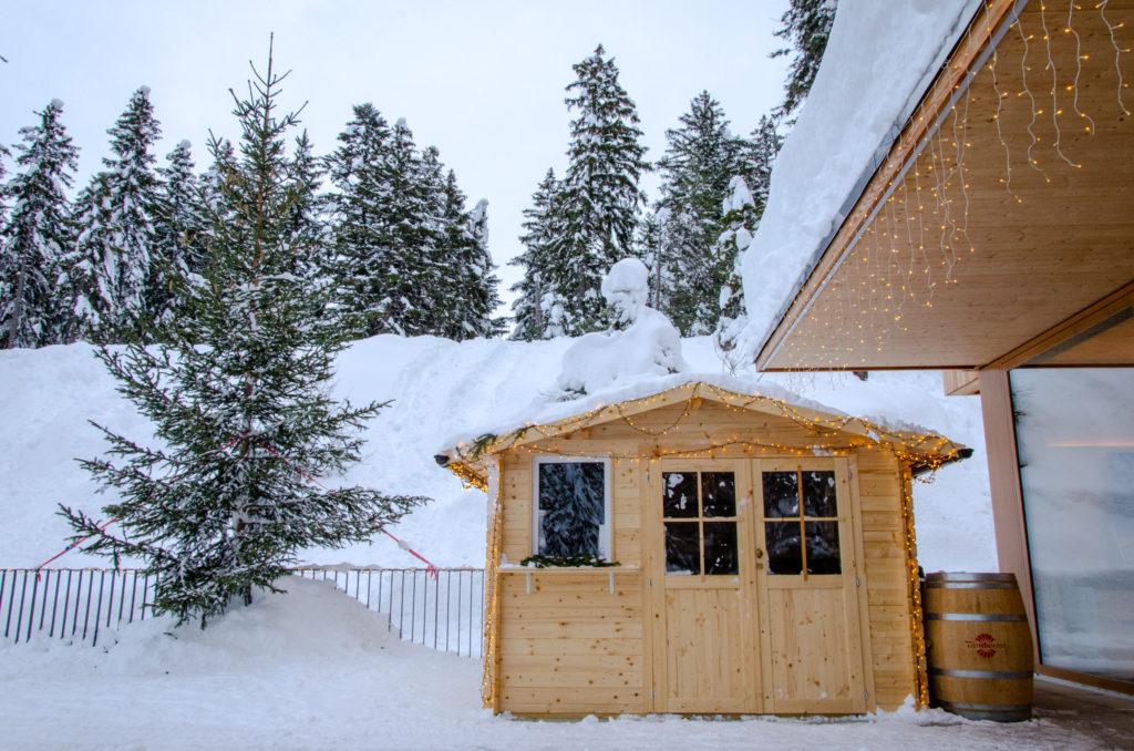 Campra Alpine Lodge & Spa terrazza invernale con il take-away la Pigna
